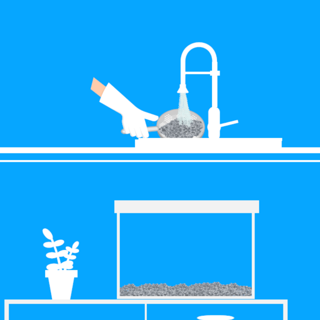 Wash the gravel & lay washed gravel in aquarium